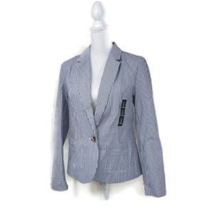 Gap NWT Size 8 Seersucker Blazer Jacket Blue White